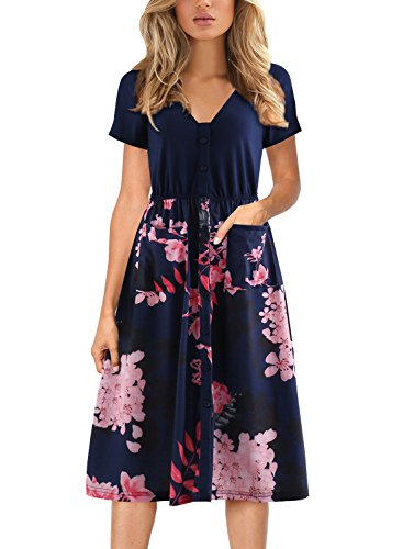 Denim Floral Cardigan - Women's Midi Dresses with Pockets Casual Party Button V Neck Swing Dress Short Sleeve BK358 (S, Navy Floral)