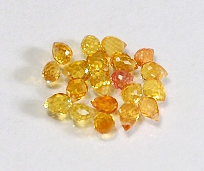 WE SELL QUALITY! NATURAL GOLDEN YELLOW HIGH SPARKLE SAPPHIRE BRIOLETTES / Drilled (Golden Yellow Sapphire)