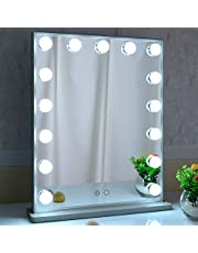 BEAUTME Vanity Mirror with Lights,Hollywood LED Lighted Mirror with 15pcs Dimmable Bulbs,Tabletop or Wall Mounted Dressing Illuminated Beauty Mirror Touch Control and Plug in Adapter