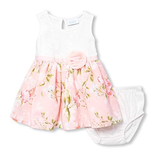The Children's Place Baby Girls Novelty Printed Dress, Simplywht, 12-18MOS ()