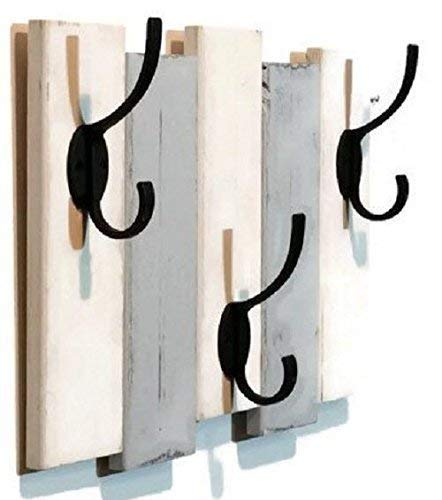 Renewed Décor Sydney Rustic Vertical Planked Wall mounted coat or towel rack featuring 3 heavy duty double hooks, Accent Color. Available in 20 Color : Shown in Bright White & Light French Gray