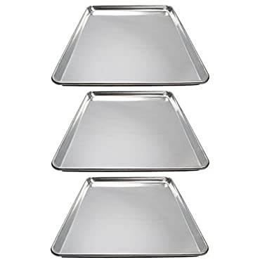 Winware ALXP-1318 Commercial Half-Size Sheet Pans, Set of 3 (13-Inch x 18-Inch, Aluminum)
