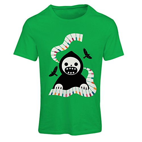 T Shirts for Women Halloween Horror Nights - The Death is Playing on Piano - Cool Scarry Design (Medium Green Multi -