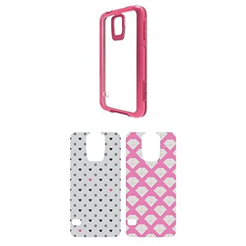 OtterBox Symmetry Samsung Galaxy S5 Sorbet Crystal Case w/ 2pk Graphic Insert - Diamond Stack and Polka (Otterbox Samsung Galaxy S5 Skin)