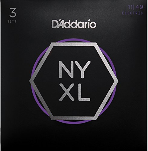 D'Addario NYXL1149-3P Nickel Plated Electric Guitar Strings, Medium,11-49 (3 Sets) – High Carbon Steel Alloy for Unprecedented Strength – Ideal Combination of Playability and Electric Tone