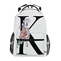 TropicalLife K Letter with Flower Backpacks School Bookbag Shoulder Backpack Hiking Travel Daypack Casual Bags