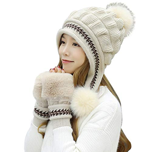 - Qingchin 2Pcs/Set Thicken Chunky Knitted Earflap Hat with Gloves Striped Beanie Cap Fingerless Mittens(Beige)