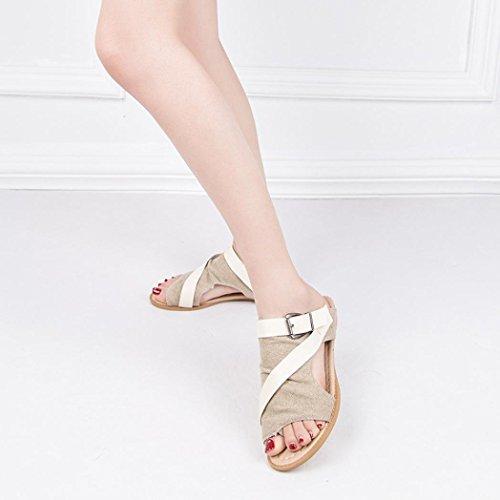 Sillonnent Sandales Découpe Boucle Semelles sandales Pas Wedge Sandale Gonflable Compensées Beautyjourney Beige slide Strappy Cher Tongs Pqdn1g6H