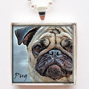 Tile Pendant Glass - Adorable Pug Dog Altered Art Glass Tile Pendant Necklace with Chain