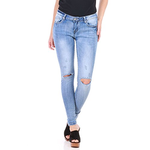 aux La Jeans dchir et Slim Modeuse Bleu dlav Genoux rYwAqvYnxf