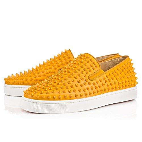 FSJ Unisex Casual Slip On Sneakers Low Top Flats With Rivets Soft Walking Shoes Size 13 Gold Women by FSJ