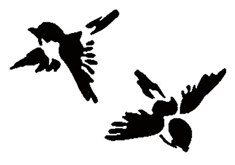 Shabby Chic Stencil two birds flying trees Rustic Vintage style A4 297x210mm