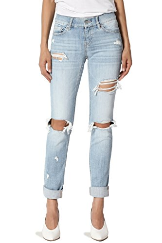 TheMogan Women's Distressed Slim Straight Relaxed Roll Up Crop Jeans Light 7 (Jeans Low Rise Cotton Distressed)