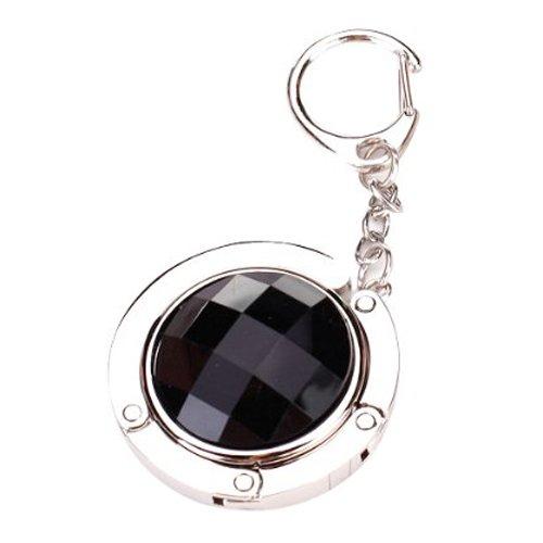 Bag Magnets (Gleader Round Rhinestone Purse Handbag Hanger Hook Folding Hanger Holder w/ Keychain(Silvery and Black))