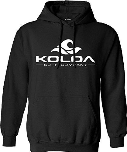Koloa Surf Classic Wave Logo Surf Hoodie, Hooded Sweatshirt-L-Black/w