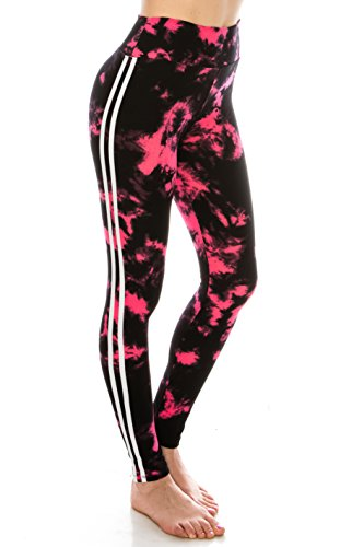 ALWAYS Leggings Women Yoga Pants - Tie Dye Print Color Pattern High Waisted Workout Striped Buttery Soft Stretchy Black Pink One ()