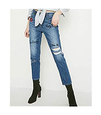 Dayed Street Style Embroidery Cropped Straight Jeans Women