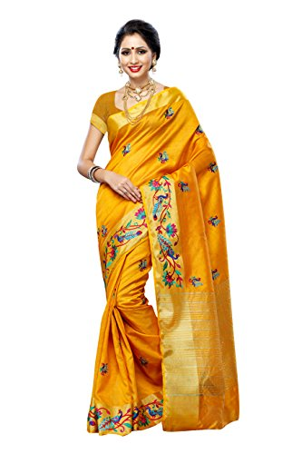 silk Saree with Hand Embroidery Color: Gold(3220-2085-EMB-GLD) (Hand Embroidery Sarees)