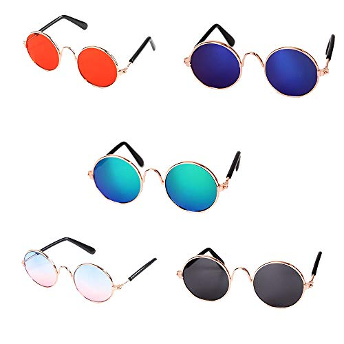 5PACK Pet Dog Goggles Sunglasses Anti-UV Sun Glasses Eye Wear Protection Exquisite Appearance and Diverse Colors Metal Frame for Small animal Lover