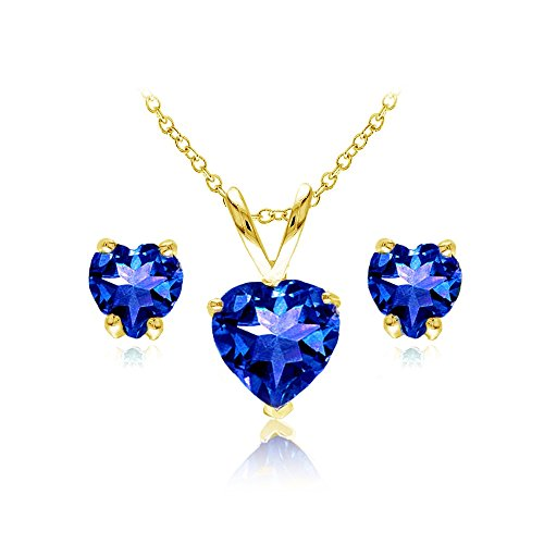 - GemStar USA Yellow Gold Flashed Sterling Silver Created Blue Sapphire Heart Solitaire Necklace and Stud Earrings Set