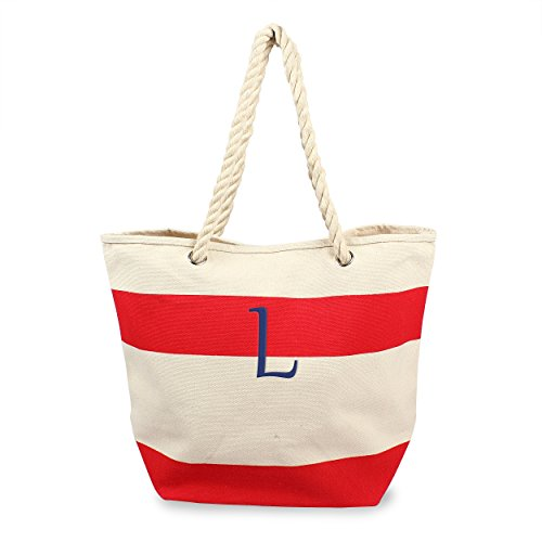(Cathy's Concepts Personalized Striped Canvas Tote with Rope Handles, Red, Letter L)