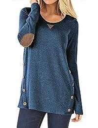 Women's Long Sleeve Faux Suede Casual Blouse Tunic Shirt Tops