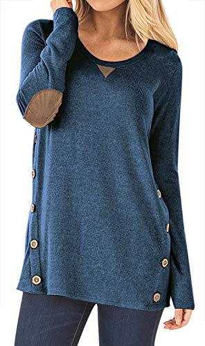 Top Shirt Denim (HARHAYWomen'sLongSleeveFauxSuedeCasualBlouseTunicShirtTops Blue-M)