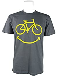 Smiley Bike Grey with Yellow Graphics Cycling T-shirt