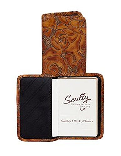 Scully Tooled Calf Leather Personal Weekly Planner Organizer (Chocolate)