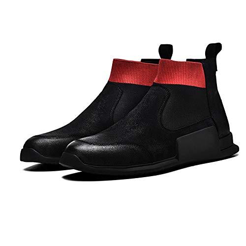 Office WKNBEU Stivaletti Rosso Red Vintage Fit Convenzionali Reali Neri Commerciali Nuziale Antisdrucciolevoli Uomini Uomo Work Bassi Boots Cuoio Adulti Chelsea Stivali rwrA7q