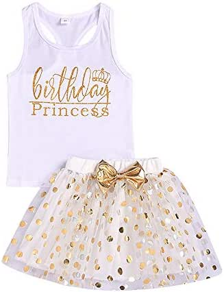 Toddler Kids Baby Girls Outfits Birthday Princess Vest Sleeveless Top +Dot Bubble Skirt 2PCS Summer Clothes Set