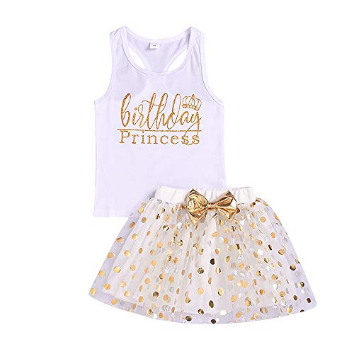 Toddler Kids Baby Girls Outfits Brithday Princess Vest Sleeveless Top +Dot Bubble Skirt Summer Clothes Set (2-3 Years) White