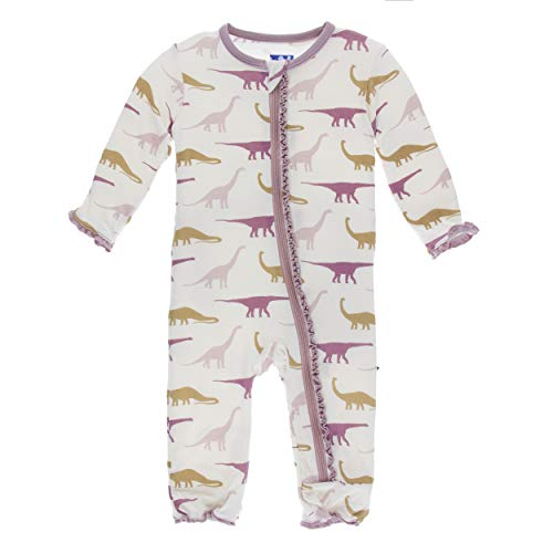 Kickee Pants Little Girls Print Muffin Ruffle Coverall with Zipper - Natural Sauropods, 4T