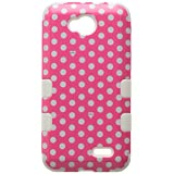 MyBat TUFF Hybrid Phone Protector Cover for LG D415 Optimus L90 - Retail Packaging - Dots Pink/White