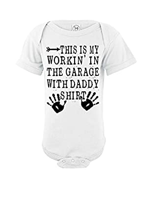 This Is My Working In The Garage With Daddy Shirt | Funny Baby Onesie | Bodysuit