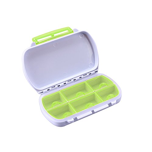 yanQxIzbiu Premium Container, Portable 6 Slot Waterproof Pill Box Storage Container Travel Drug Medicine Case - Green