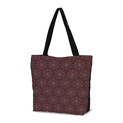 Maroon Stylish Canvas Tote Bag,Detailed Ornate Flowers Curves Swirls Petals Dus
