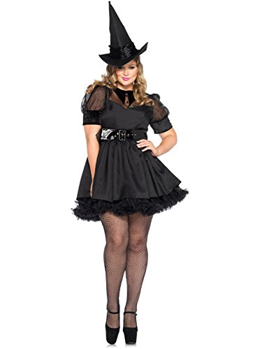 Leg Avenue Women's Plus-Size Bewitching Witch Costume, Black,