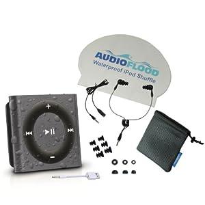 Latest Generation Space Gray Apple iPod Shuffle Bundle Waterproof by AudioFlood Headphones Included