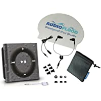 AudioFlood Waterproof Apple iPod Shuffle with Short Cord Headphones, Space Gray
