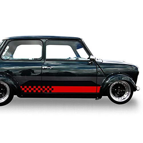 (Bubbles Designs 2X Decal Sticker Vinyl Checkered Flag Side Racing Stripes Compatible with Classic Mini Cooper JCW)