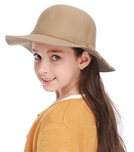 Bienvenu Kids Girl's Vintage Dome Wool Felt Bowler Cap Floppy Hat Bow,Camel