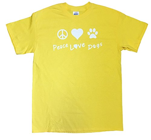 (Peace Love Dogs Adult Unisex Rescue T-shirt (Small, Daisy Yellow))