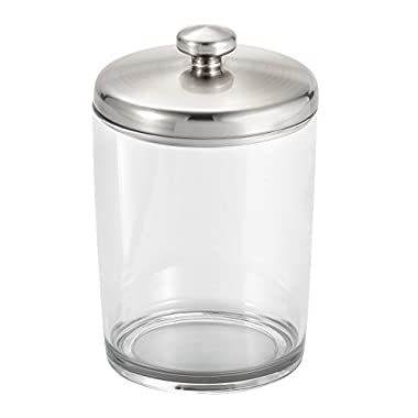InterDesign Gina Bathroom Vanity Canister Jar for Cotton Balls, Swabs, Cosmetic Pads - Clear/Brushed Nickel