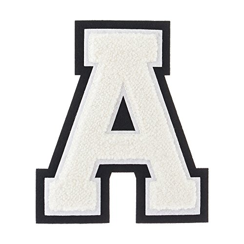 A - White on Black - 4 1/2 Inch Heat Seal/Sew On Chenille Varsity Letter