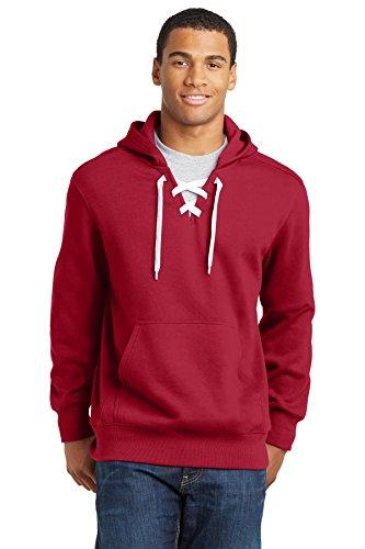 Hockey Hoody Lace - Joe's USA(tm) Mens Lace Up Pullover Hooded Sweatshirt-Deep.Red-2XL