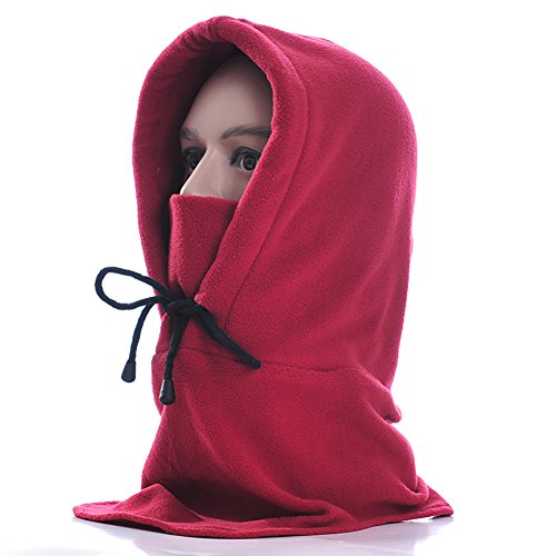 Lalago Unisex Fleece Balaclava Hood Face Neck Cover Mask for Outdoor Sport (dark red)