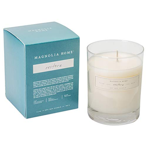 Magnolia Home Restore Scented 9.2 oz Soy Wax Boxed Glass Candle by Joanna Gaines - Illume Pack of 2 - Illume Wax Candle