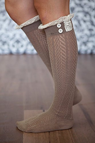 American Trend Womens Lacey Button Knee High Boot Socks Brown ARpqLPj