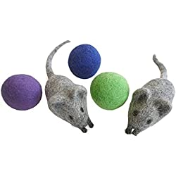 Earthtone Solutions Felt Wool Ball and Mouse Toys for Cats and Kittens, Adorable Colorful Soft Quiet Fabric Balls, Unique Handmade Natural, Eco Friendly for Cat Lovers, 2 Felt Mice 3 Felt Balls